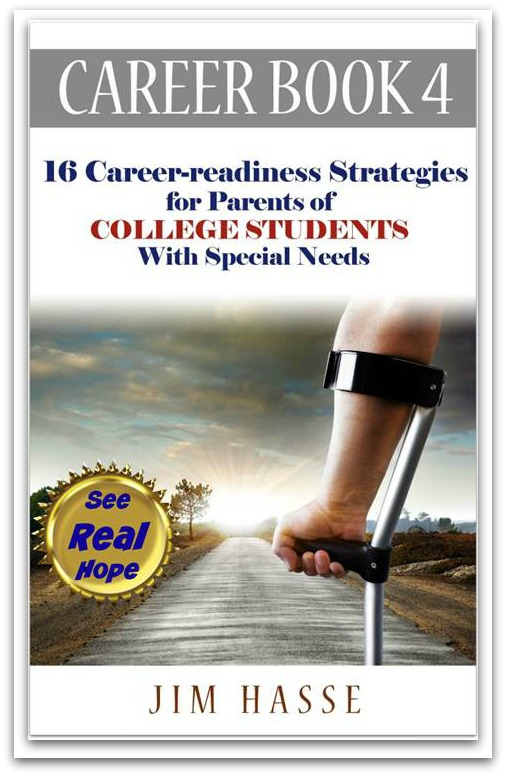 Cover of Career Book 4 showing path into sunset from a backside vantage point of young man walking with a crutch.