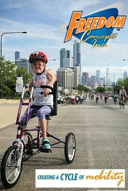 Young girl on customized Freedom Concepts trike in a