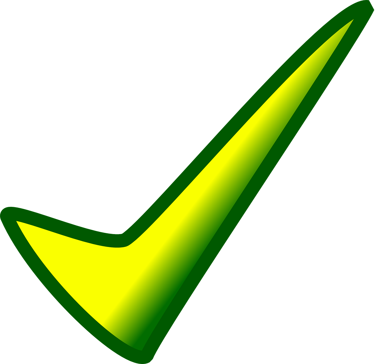 Affirmative Action Checkmark in yellow and green.