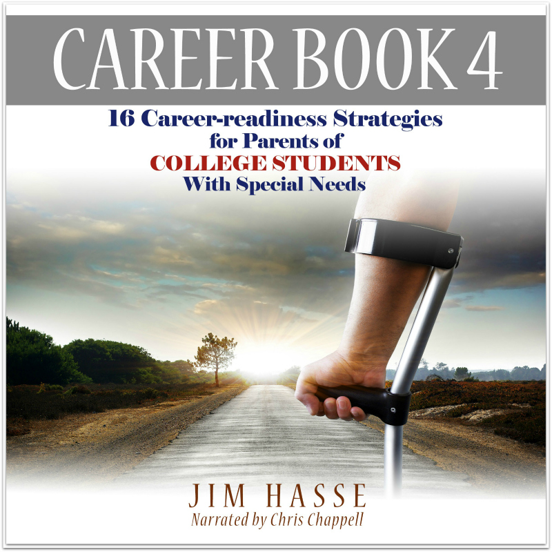 Career Book 4 Cover: Audiobook Now Available -- Tight shot of forearm in Canadian Crutch; path (roadway) in background.
