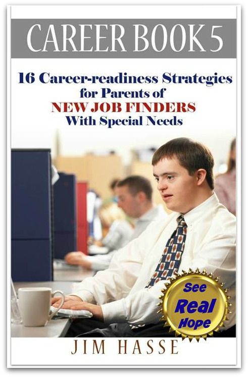 Cover of Career Book 5, showing young man with Downs Syndrome in shirt and tie working at a computer.