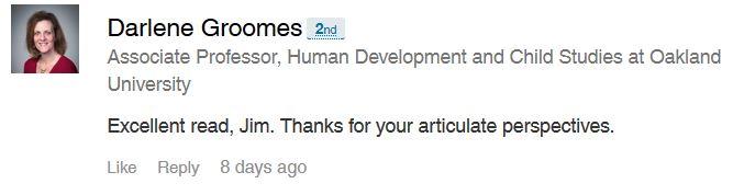 Endorsement by Darlene Groomes, Associate Professor, Human Development and Child Studies, Oakland University.
