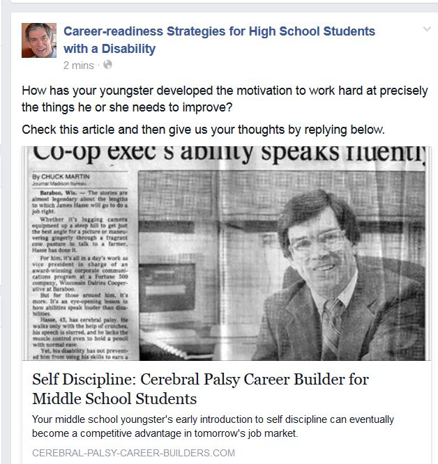 Newspaer clipping about Jim Hasse. Sample Facebook entry from the Week 3 above, using the first of the three potential discussion questions.