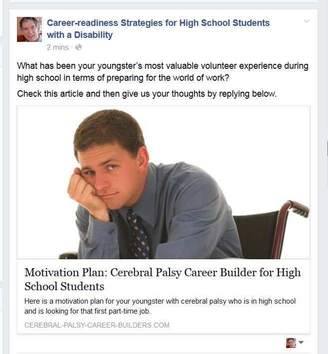 Sample Facebook entry from the Week 6 link above, using the third of the three potential discussion questions. Photo shows high school boy, sitting in a wheelchair and looking rejected.