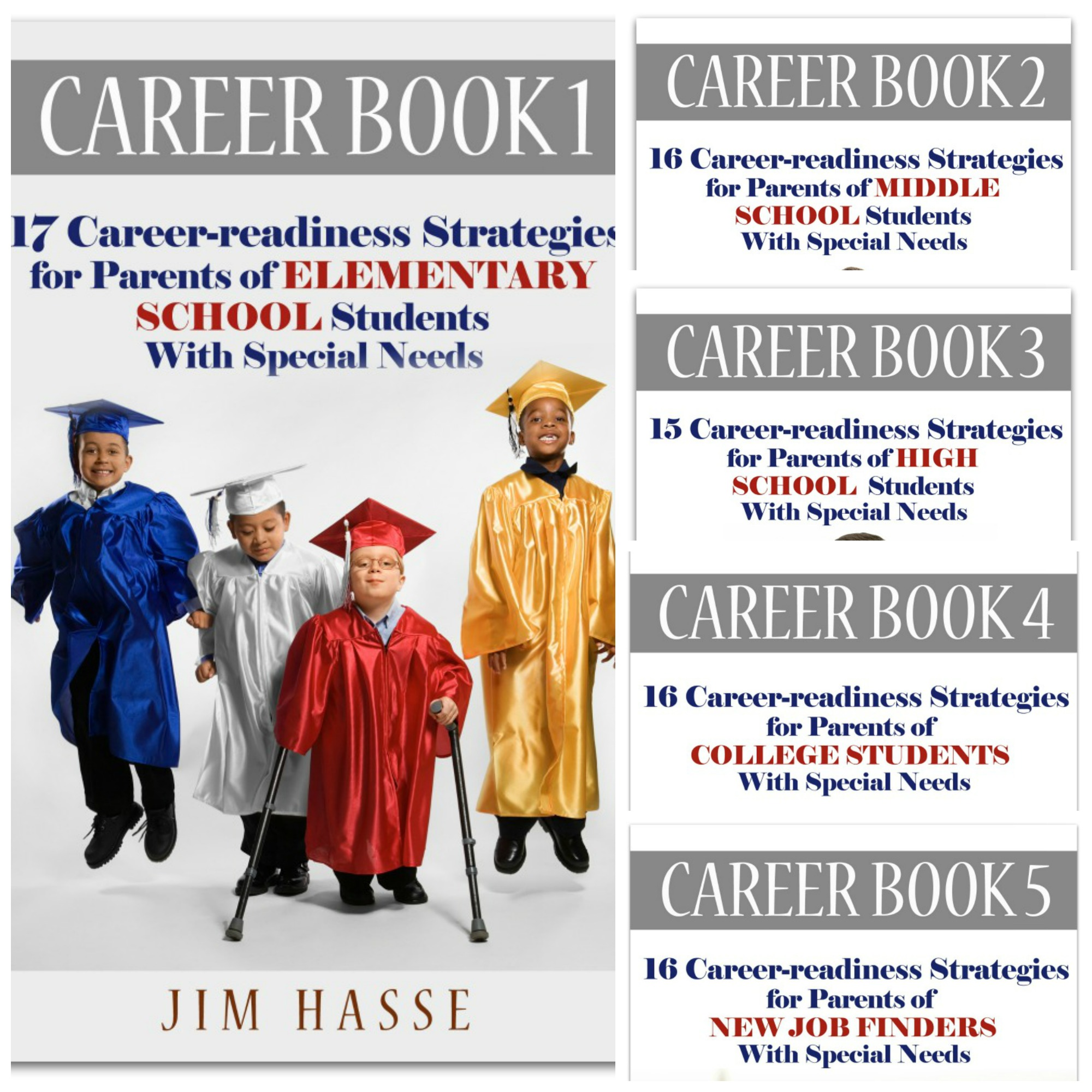Cover of Career Book 1 showing 4 elementary school students in graduation cap and cowns -- one with crutches. Covers of other four Career Books are shown in a smaller sidebar