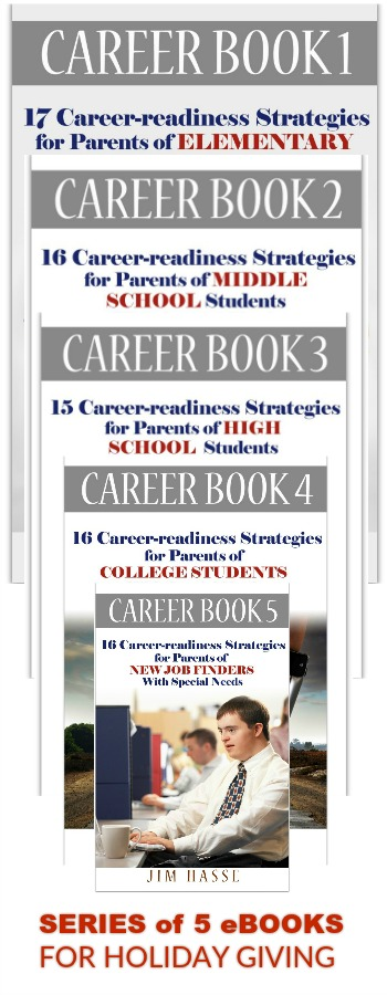 Covers of five Career Books in a collage as a series for holiday giving.