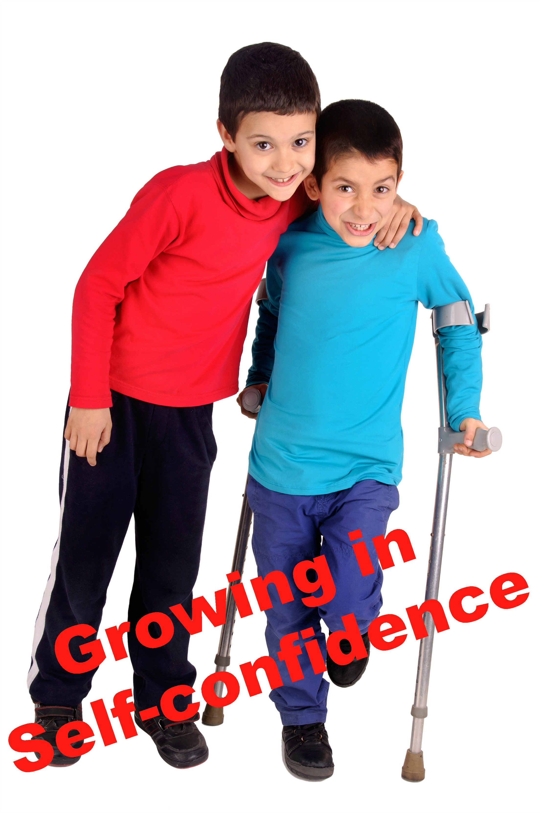 Two elemetary-school boys (one with crutches) supporting each other as they both stand. Caption: