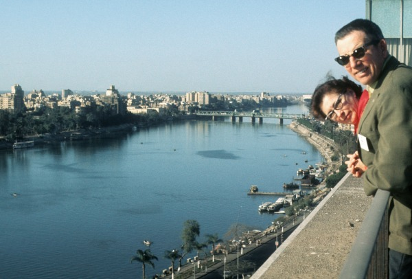 My dad and mom in Cairo overlooking Nile River in 1973.