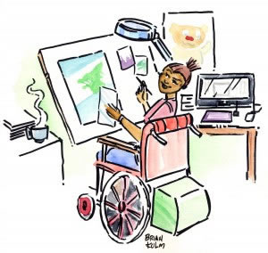Colorful illustration showing woman in wheelchair at drafting table and the importance of effective goal setting.
