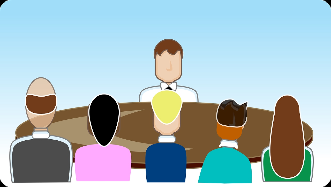 Colorful illustration showing group job interview for EEOC do's and don'ts