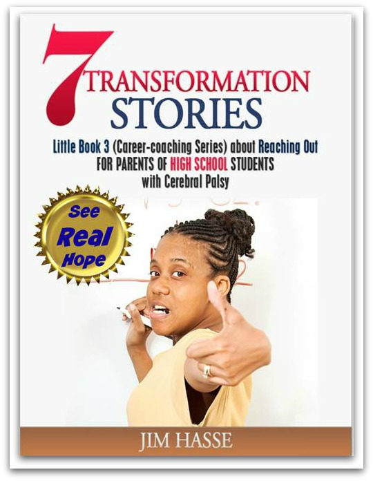 Cover of Little Book 3: 7 transformation stories about Reaching Out. African-American high school girl at whiteboard, giving thumbs-up.