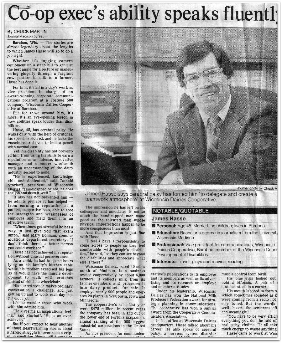 1985 Milwaukee Journal article about Jim Hasse titled: