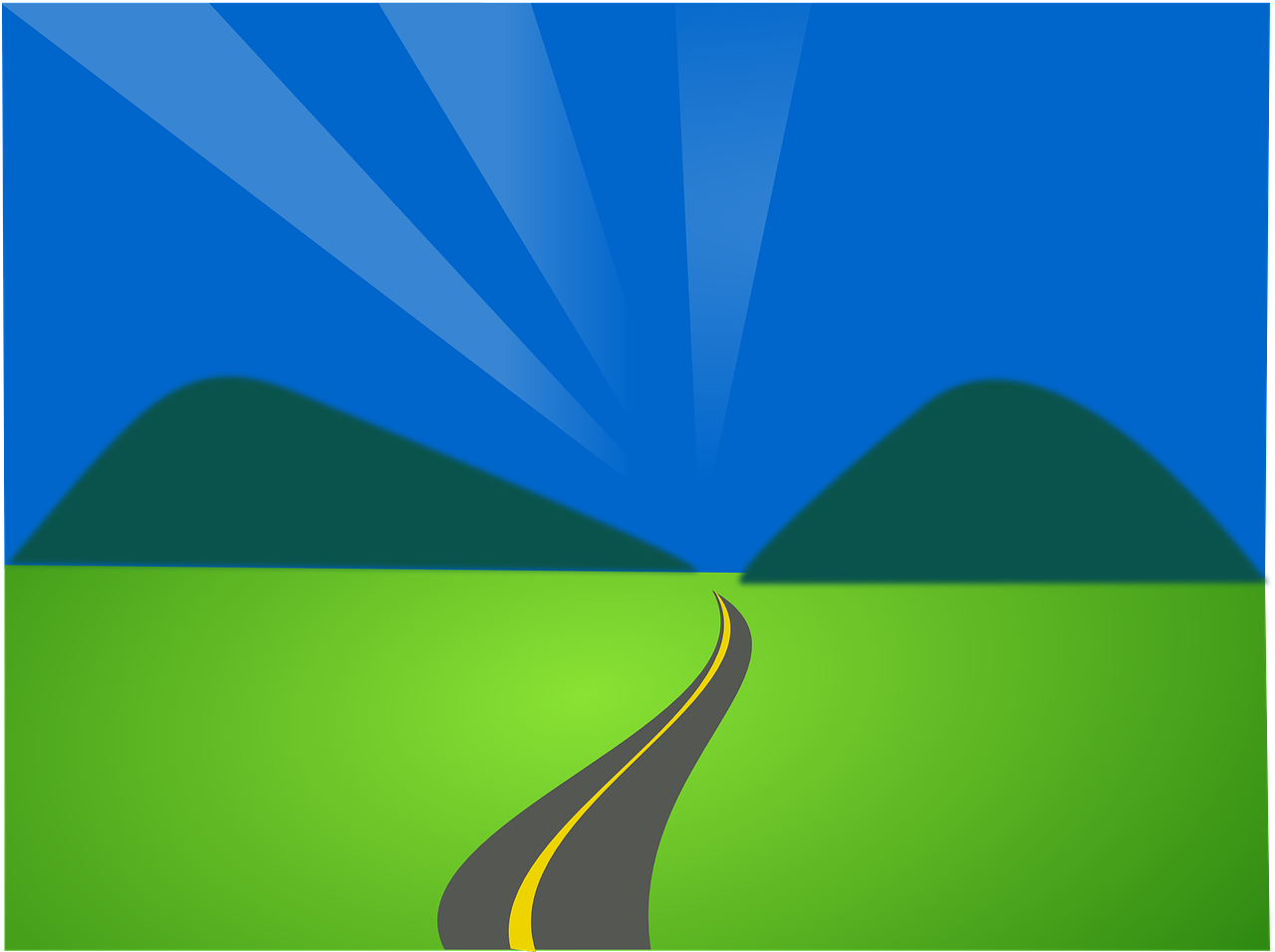The right college courses are a path to the future: illustration showing highway leading to distant mountains.