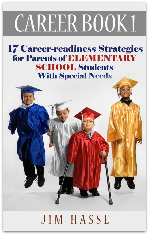 Cover of Career Book 1 showing 4 elementary school students in graduation cap and cowns -- one with crutches.