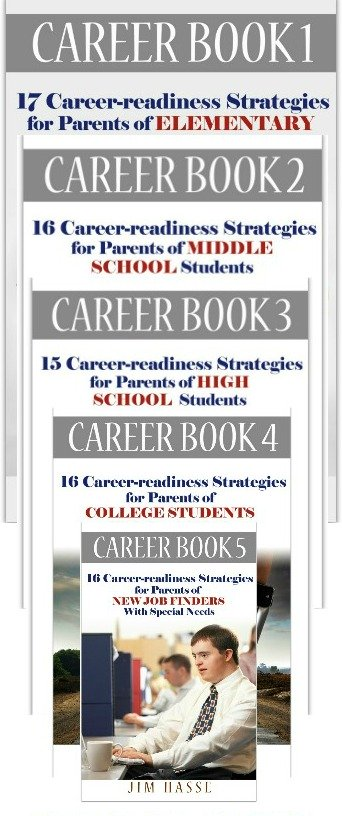 Covers of five Career Books, a series for parents who seek information about school-to-work preparation for their youngsters with unexpected challenges.