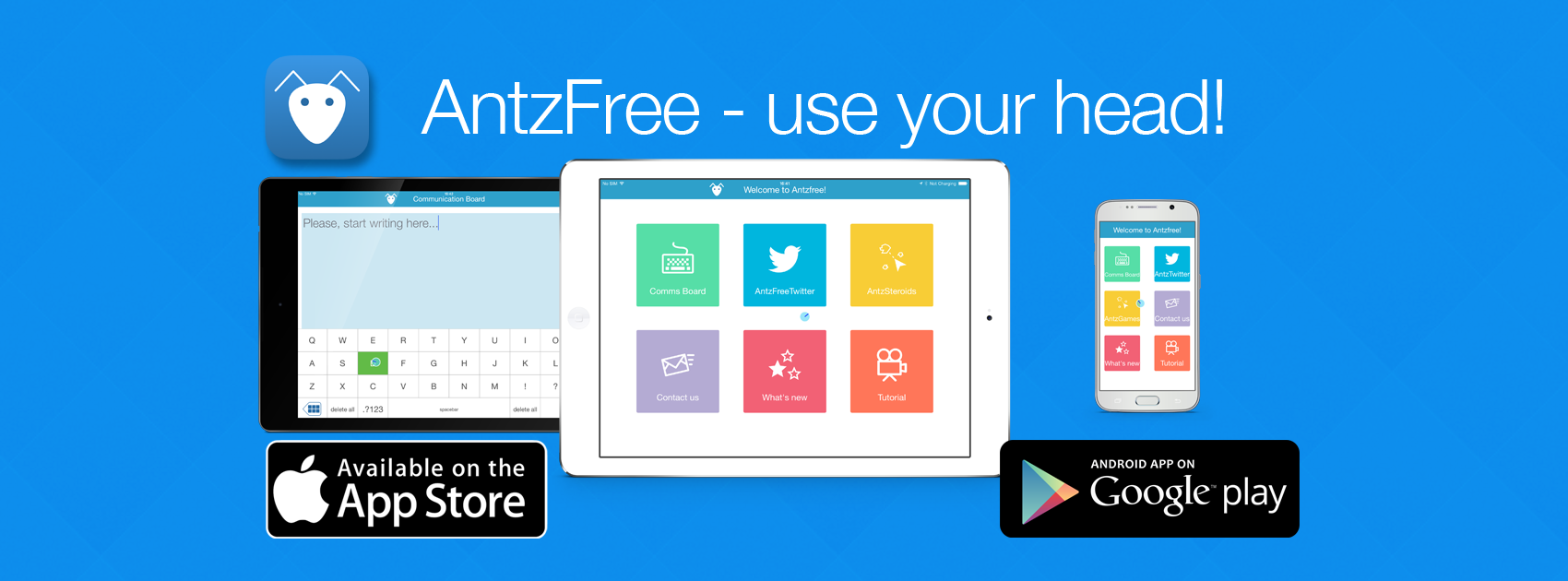 Website pages for AntzFree, a free IOS and Android app for control of devices through head movement.