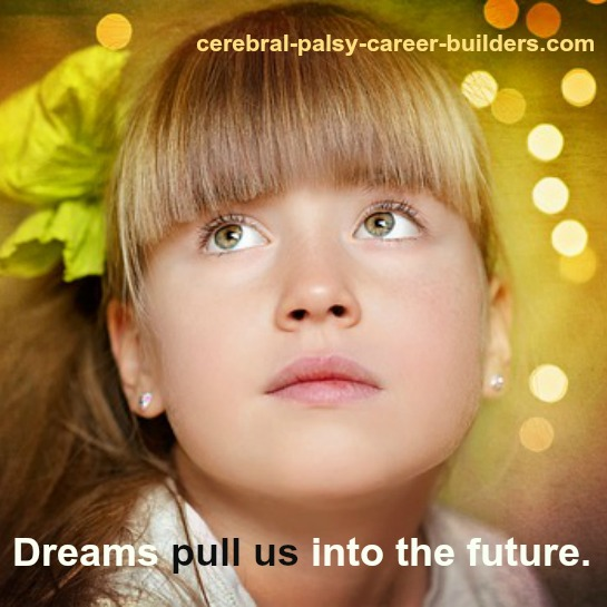 Young girl with blurry lights in background, signifying dream about goals and goal setting. Inset: