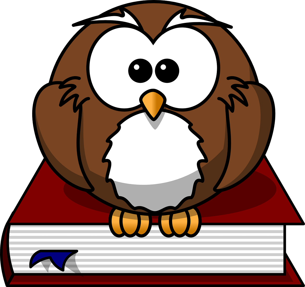Colorful drawing of an owl sitting on a book,
